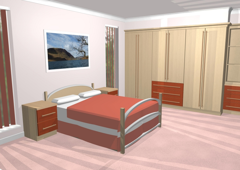 3d cad gallery image of bedroom with long handles and for Normal bedroom designs