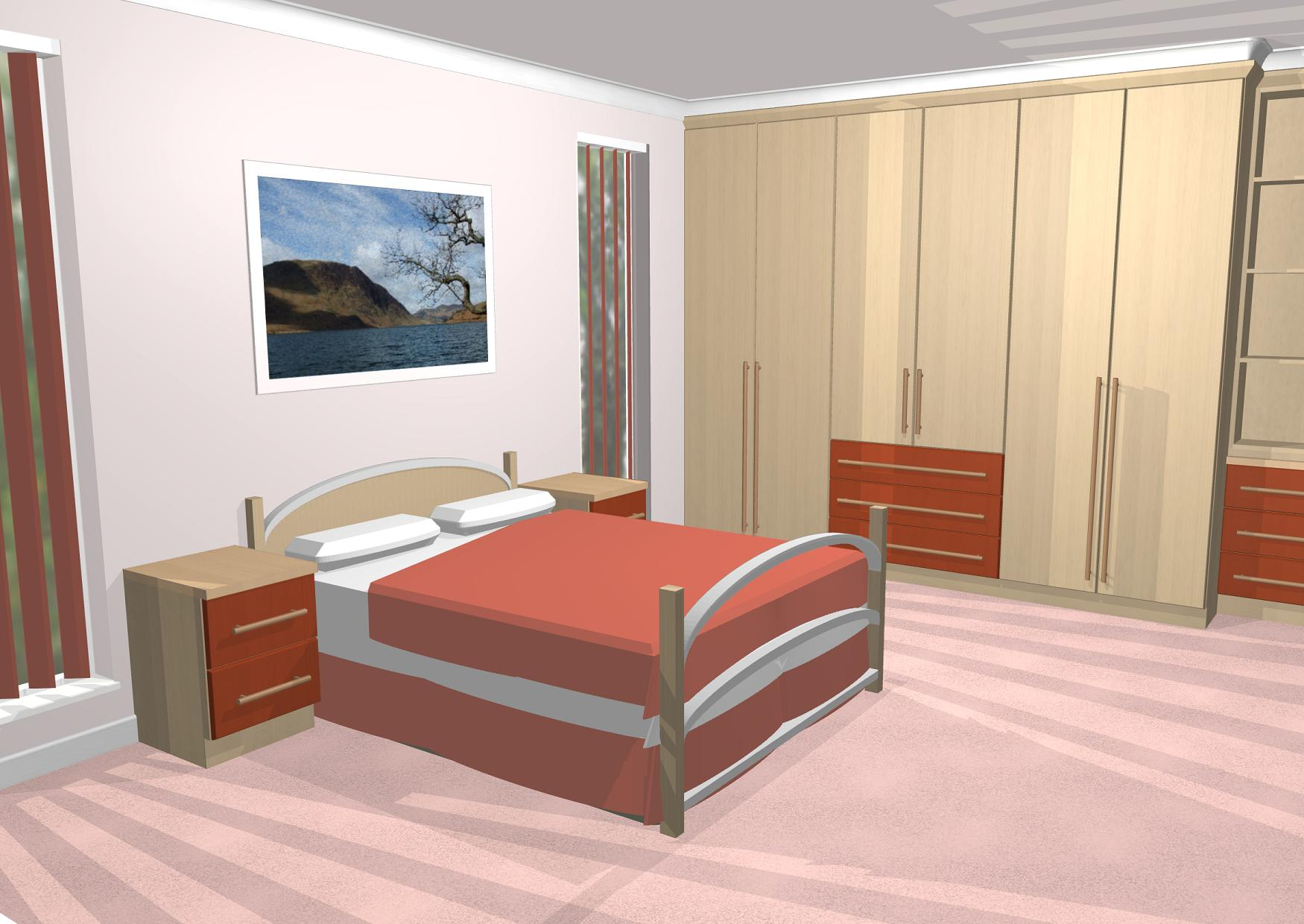 CAD Gallery of 3D Bedroom images