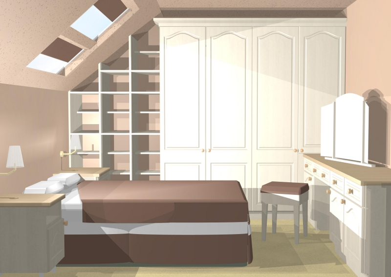 3d Gallery Of Bedroom With Sloping Ceiling Showing Internals