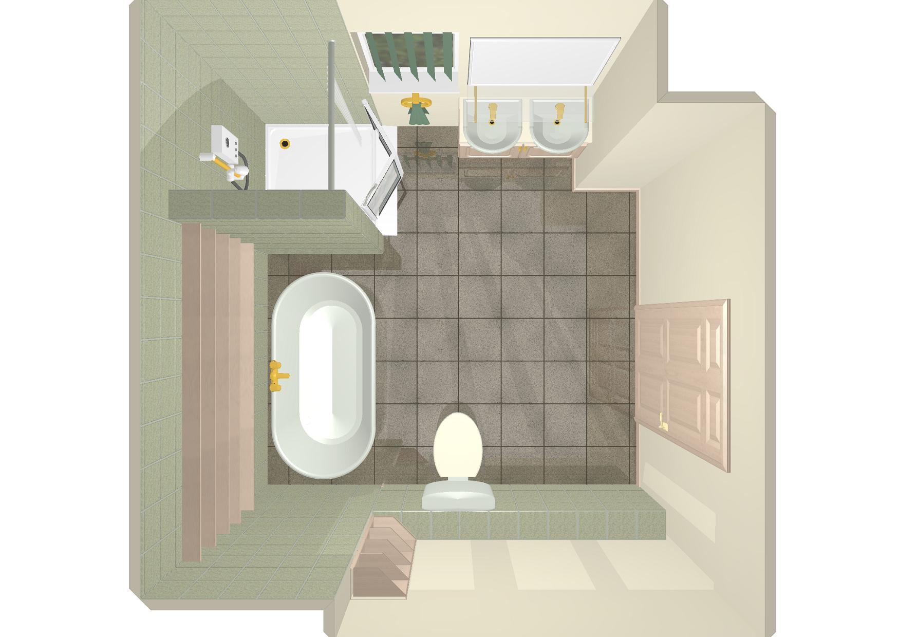 Cad gallery 3d birds eye image of dual use mobility bathroom - Image of bathroom ...