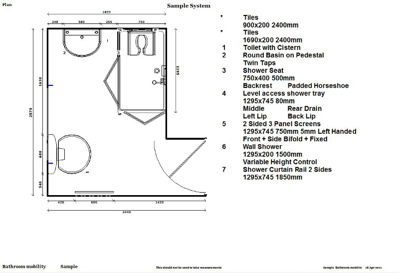 Gallery bathrooms kitchen room layouts adapted for for Bathroom for disabled plan
