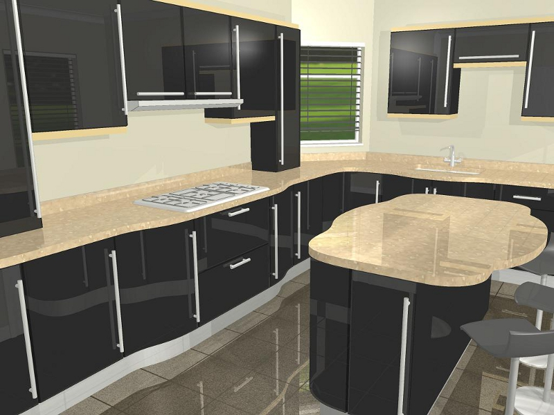 Superview r cad gallery of 3d pictures for White high gloss kitchen wall units